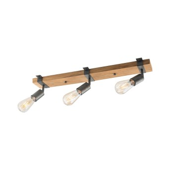 Leuchten-Direkt SLAT Lámpara de Techo Marrón, Madera oscura, 3 luces