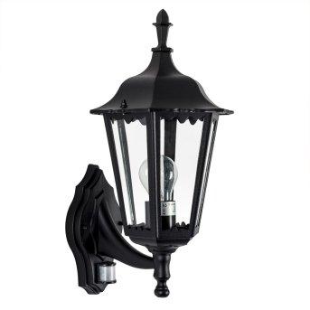 KS Verlichting Ancona Aplique Negro, 1 luz, Sensor de movimiento