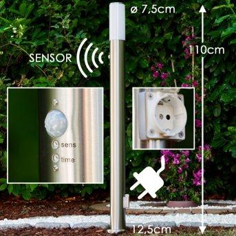 Caserta Lámpara de pie para exterior Acero inoxidable, 1 luz, Sensor de movimiento