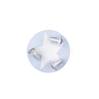 Waldi Mimbel Lámpara de Techo Azul, Blanca, 3 luces