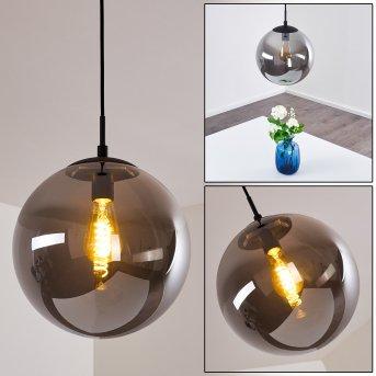 Agropoli Lámpara Colgante Negro, Colores ahumados, 1 luz