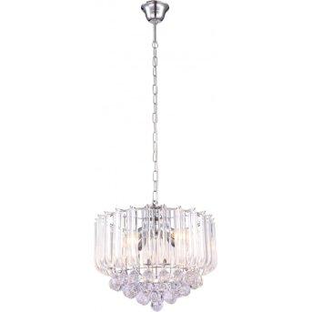 Globo Lámpara de araña Transparente, Cromo, 4 luces
