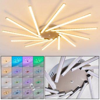 Kinna Lámpara de Techo LED Acero inoxidable, 12 luces, Mando a distancia, Cambia de color