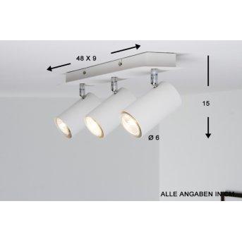 Trio 8024 Lámpara de techo Blanca, 3 luces