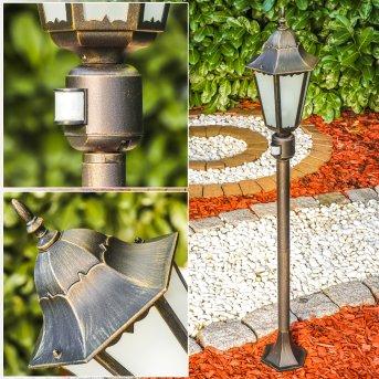 Hongkong Frost Lámpara de pie para exterior Marrón, oro, 1 luz, Sensor de movimiento