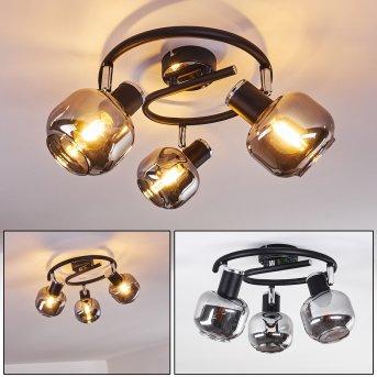 Lexington Lámpara de Techo Cromo, Negro, 3 luces