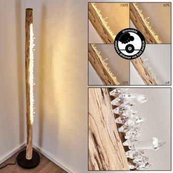 Bansberia Lámpara de Pie LED Negro, Madera clara, 1 luz