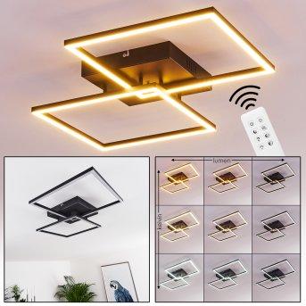 Cheka Lámpara de Techo LED Negro, 2 luces, Mando a distancia